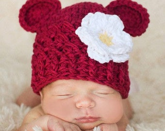 Baby Girl Hat, 0 to 3 Months Baby Girl Hat, Girl Monkey Hat, Handmade Baby Hat, Burgundy with White, Yellow Flower. Photo Props. Baby Gift.