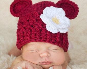 Baby Girl Hat, Baby Girl Monkey Hat, Newborn Hat, Girl Hat, Handmade Hat, Burgundy, White, Yellow Flower. Great for Photo Props. Baby Gift.