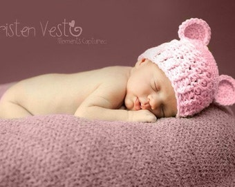 0 to 3 Months Baby Girl Chunky Monkey Crochet Flapper Beanie Baby Pink with Ears. Super Cute. Great for Photo Prop. Baby Shower Gift.