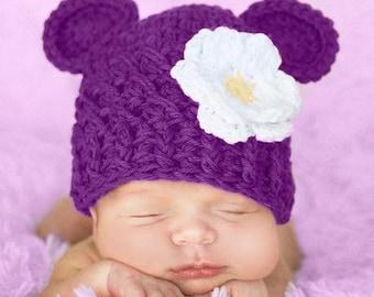 Newborn Baby Girl Hat, 0 to 1 Months Baby Girl Monkey Hat, Baby Beanie, Dark Grape with White, Yellow Flower. Baby Photo Props. Baby Gift.
