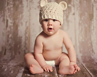 Baby Boy Hat, Baby Teddy Bear Hat, Baby Crochet Beanie, Beige with Ears. Photo Props. Baby Shower Gift. Kids, Children, Hats and Bonnets.