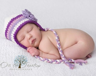3 to 6 Months Baby Girl Crochet Earflap Beanie Cream, Dark Grape, Mauve, Light Purple with Flower. Very Cute. Great for Photo Props. Gift.
