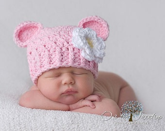 Baby Girl Hat, 12 to 24 Months Baby Girl Monkey Hat, Girl Crochet Flapper Beanie, Baby Pink with White and Yellow Flower. Baby Photo Props.