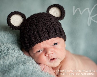 Baby Boy Hat, 0 to 3 Months Baby Boy Monkey Hat, Baby Boy Handmade Hat, Coffee Bean Brown with Cream Ears. Boy Photo Props. Baby Gift.