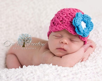 Baby Girl Hat, 3 to 6 Months Baby Girl Flapper Hat, Hot Pink with Turquoise and White Flower. Great for Photo Props. Baby Shower Gift.