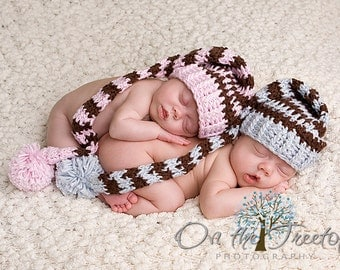 Set of Two Stocking Hats, Twin Stocking Hats, Newborn Photo Props, Baby Blue, Brown, Baby Pink, Brown, Pom Pom. Twins Boy and Girl. Children
