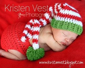 Baby Christmas Stocking Hat, Baby Elf Stocking Hat, Baby Stocking Hat, Snow White, Red and Light Green. Holiday Photo Shoot, Holiday Cards.