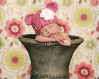 Baby Girl Hat, 0 to 3 Months Baby Girl Monkey Hat, Baby Crochet Flapper Hat, Rose Pink with White and Yellow Flower. Great for Photo Props.