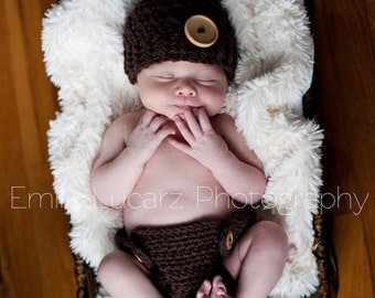 Baby Boy SET, 0 to 3 Months Baby Boy Flapper Hat and Diaper Cover, Brown with Wooden Button Hat, and Diaper Cover. Great for Photo Shoots.
