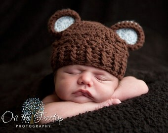 Baby Boy Hat, 0 to 3 Months Baby Boy Hat, Baby Boy Monkey Hat, Chocolate Brown and Pale Blue Ears. Photo Props. Baby Shower Gift. Kids.