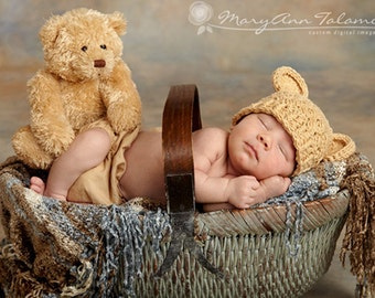 Baby Boy Hat, 0 to 3 Months Baby Boy Hat, Baby Boy Teddy Bear Hat, Crochet Flapper Beanie, Beige with Ears. Great for Photo Props. Baby Gift