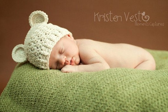 Baby Hat, 0 to 3 Months Baby Hat, Baby Boy or Girl Hat, Baby Boy Monkey Hat, Handmade Baby Hat, Cream with Ears. Great for Photo Props.