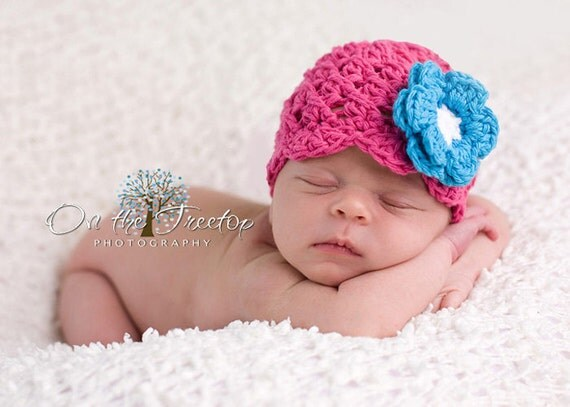 Baby Girl Hat, 12 to 24  Months Baby Girl Hat, Baby Girl Crochet Flapper Hat, Hot Pink with Turquoise, White Flower. Birthday Photo Props.