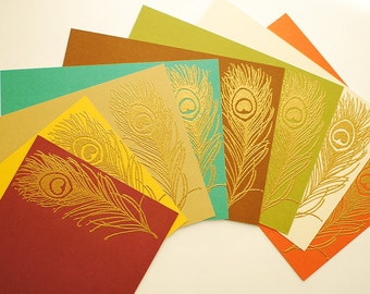 "Gold Embossed Peacock Feather with Matching Colored Envelopes Set of 8 Flat Note Cards 4"" x 5 1/2"""