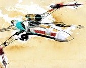 Star Wars Art print illustration of a XWing fighter - Geekery decor size 8x10