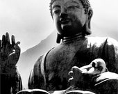 GIANT BUDDHA statue zen spiritual artist signed black and white Hong Kong China Fine Art Travel Photography print 11x17
