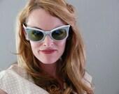 mid century Fair Skies baby blue cat eye sunglasses