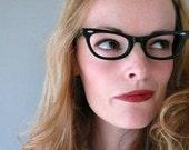 1950s cat eye glasses nos / black cat eye frames new old stock