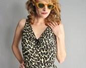 50s/60s leopard print lace up swimsuit // vlv // Meow