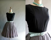 1950s dress / 50s black and white gingham dress / Summer Is Here