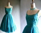1950s turquoise chiffon wedding prom party dress / 50s turquoise and moss green party dress