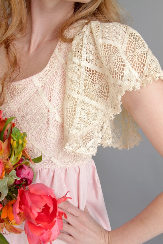 1970s peony pink maxi dress with lace crochet bodice and butterfly sleeves // The Sweetest Heart