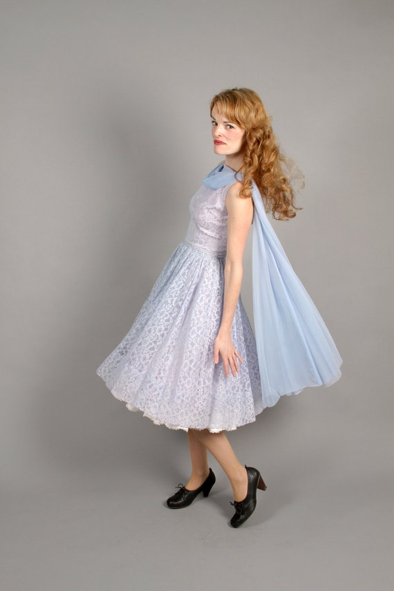 mid century baby blue lace party / bridesmaid dress // 1950s lace party dress // Blue Bell