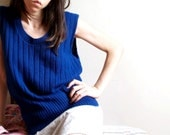 Vintage Blue Sweater Vest - XL - 1970s