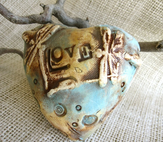 """Heart Shaped Rattle with Dragonflies and Saying """"LOVE"""" - Ceramic, gift under 40"""