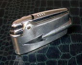midcentury SILVER CHROME LIGHTER and case - for your james bond beau - ronson varaflame made in england - so mad men