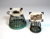 vintage PICTURE HOLDER display - green industrial metal dazey - patina wire cage flower frogs set of 2  - so classic