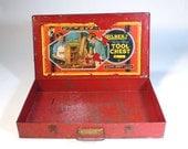 vintage industrial metal GILBERT TOOL CASE - art tool storage distressed red box - so handy