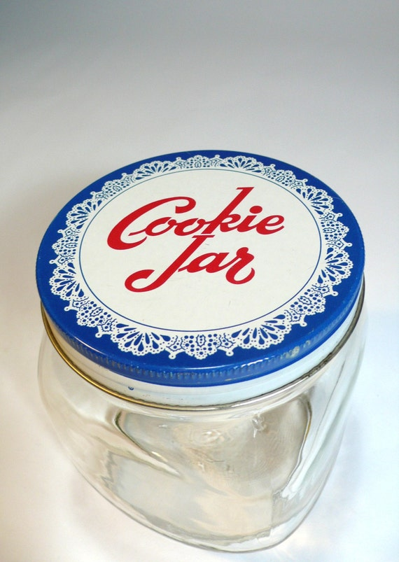 vintage COOKIE JAR brockway glass square storage canister  - blue metal lid with white lace doily red script - so charming