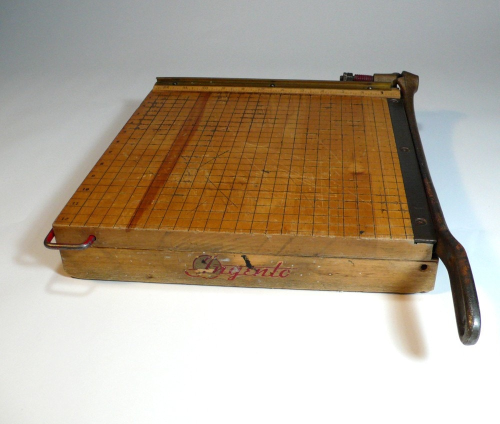 Vintage Photo Paper Cutter Wooden 13 Maple Top Large