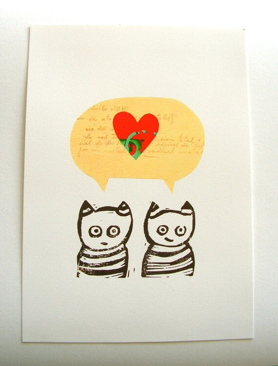 Cool cats in love. Fine art print. Gifts for lovers. Nursery decor.