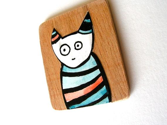 Pensiero the thinking cat. Collage art block.