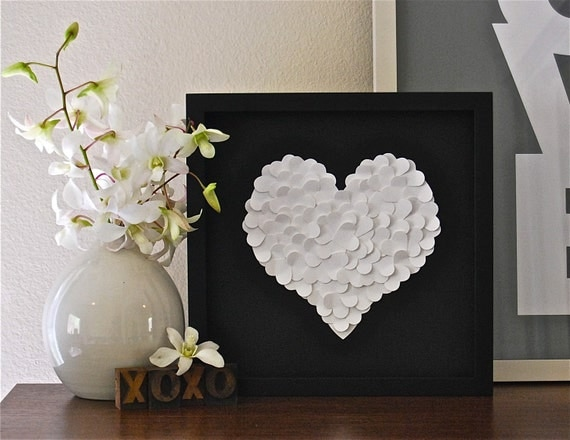 White Paper Heart on Etsy