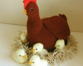 Crochet pattern: make a Mother Hen, Chicks and Nest - INSTANT DOWNLOAD .pdf