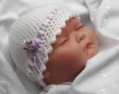 Easy Crochet Pattern for pretty Baby Beanie Hat in 4 sizes - INSTANT DOWNLOAD pdf.