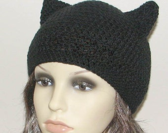 Crochet pattern for beanie hat with Kitty Cat ears - INSTANT DOWNLOAD .pdf