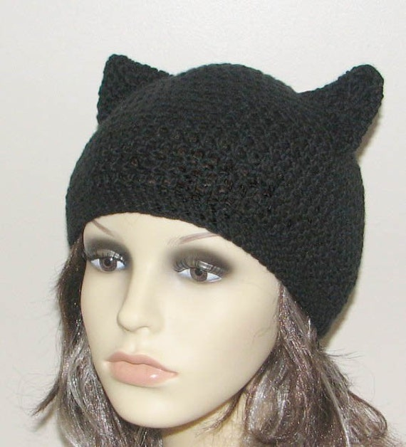 Crochet Kitty Hat Pattern : Crochet pattern for beanie hat with Kitty Cat ears - INSTANT DOWNLOAD ...