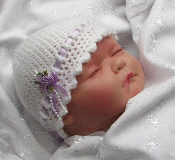 Simple Crochet Baby Beanie Pattern : Easy Crochet Pattern for pretty Baby by KeepersCottageCrafts