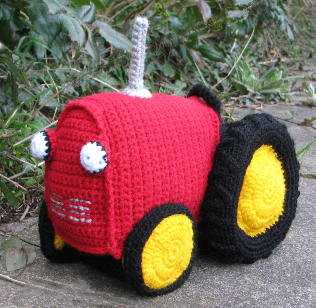 Knitting Pattern With Tractor Motif : Crochet pattern for Soft Toy Tractor INSTANT DOWNLOAD pdf