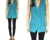 Turquoise MILITARY Double Breasted Blouse (M)