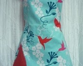 The BETTY Reversible Full Apron in Hummingbirds with Red Polka Dots - 0073