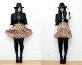 Paisley Floral Pleated High Waist Mini Flared Full Skirt