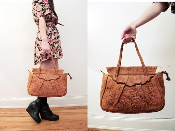 Vintage REAL Leather Tan  Messenger Hand Tooled Bag 1970s