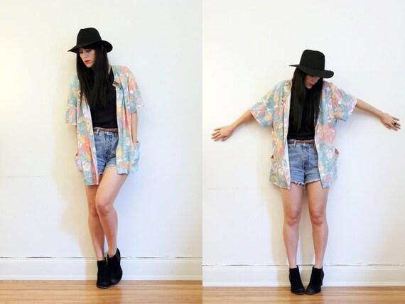 Floral Duster Slouch Boho Blazer Jacket