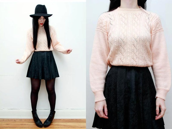 Peach Cable Knit Wool Geek Jumper Sweater