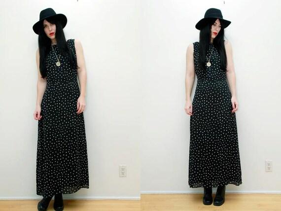 Vintage Black Nautical Polka Dot Grunge Maxi Dress 90s
